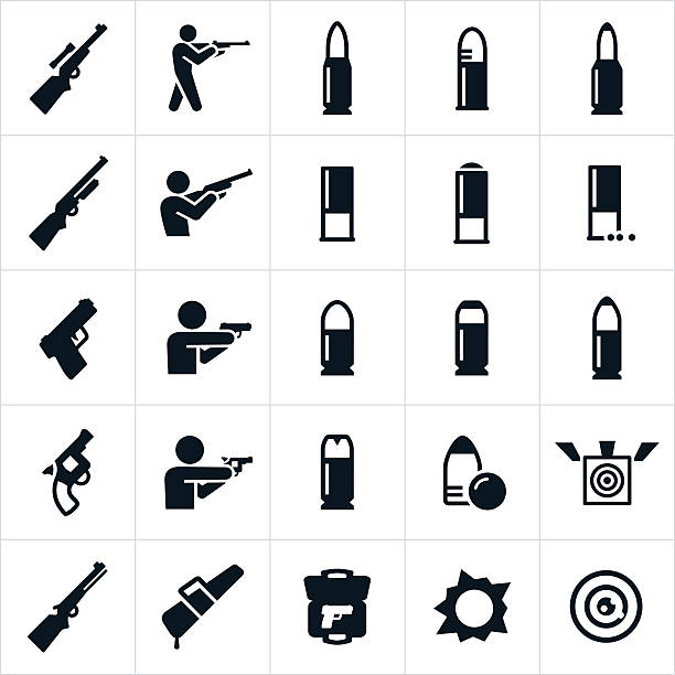 stockillustraties, clipart, cartoons en iconen met firearms and ammunition icons - gun shooting