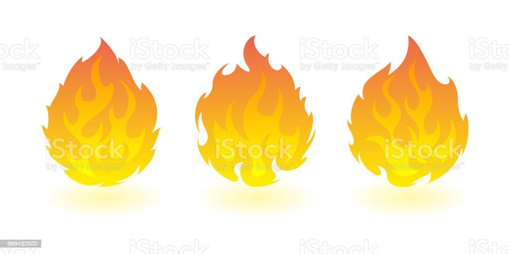 Bolas de fogo. Conjunto de elementos de design de fogo vetor - ilustração de arte em vetor