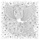 Firebird for anti stress Coloring Page with high details.
