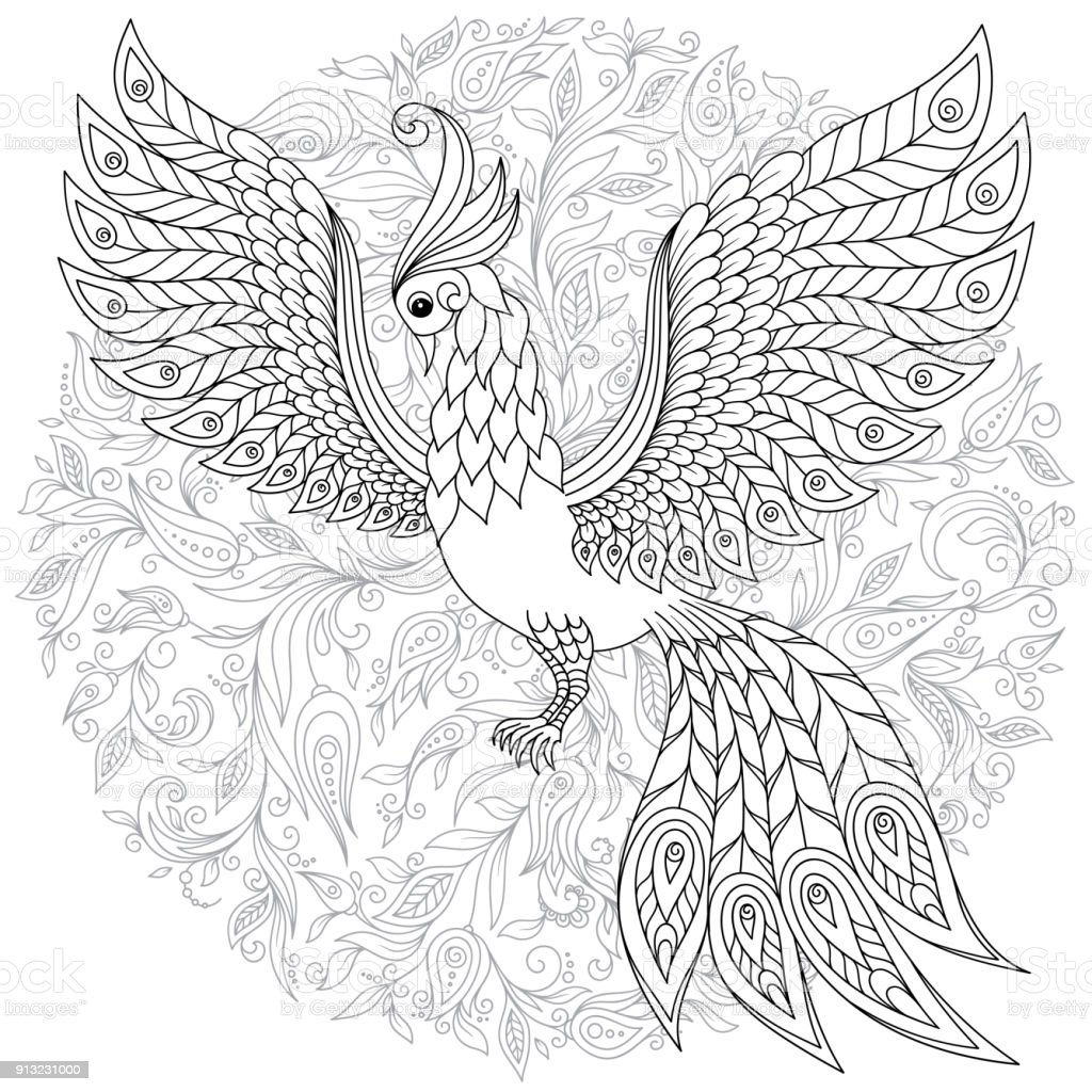 Firebird for anti stress coloring page with high details illustration