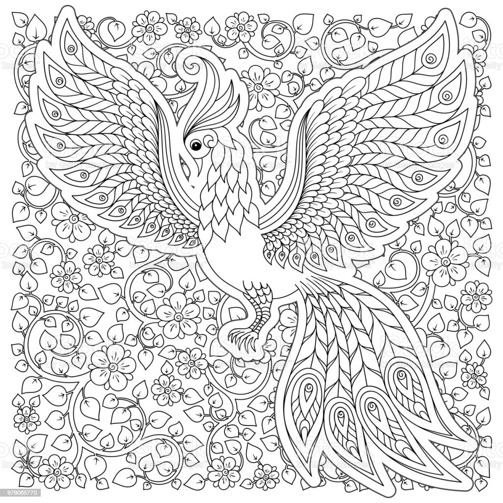 Firebird For Anti Stress Coloring Page With High Details Royalty Free