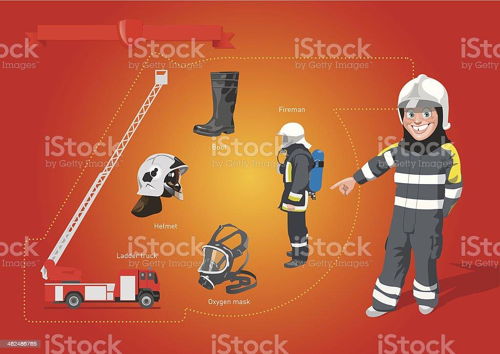 fire-brigade vector art illustration