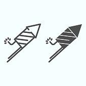 Firecracker line and glyph icon. Burning firework vector illustration isolated on white. Festival rocket outline style design, designed for web and app. Eps 10.