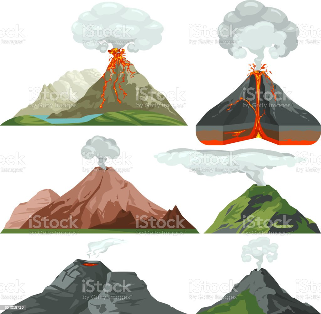 Fired up volcano mountains with magma and hot lava. Volcanic eruption with dust clouds vector set vector art illustration
