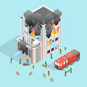 Firefighter and Building on Fire Concept 3d Isometric View Emergency Danger. Vector illustration of Fireman Extinguish Home