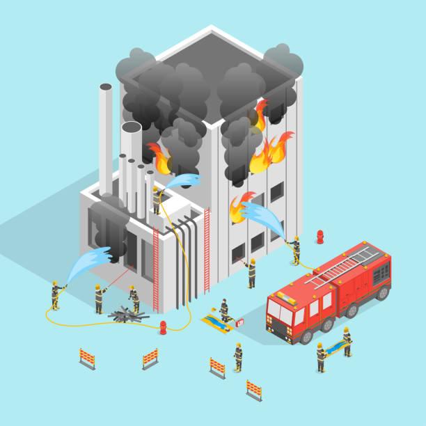 bildbanksillustrationer, clip art samt tecknat material och ikoner med brandman och bygga på brand konceptet 3d isometrisk vy. vektor - house after fire