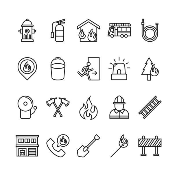 ilustraciones, imágenes clip art, dibujos animados e iconos de stock de el icono del bombero y del departamento de bomberos - bombero
