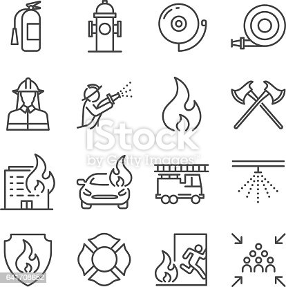 Firefighter And Fire Department Icons Stock Vector Art