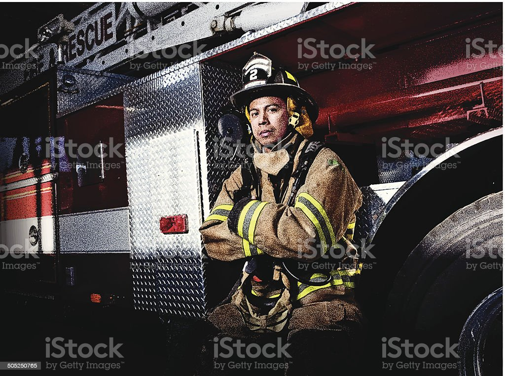 Firefighter and Fire Truck vector art illustration