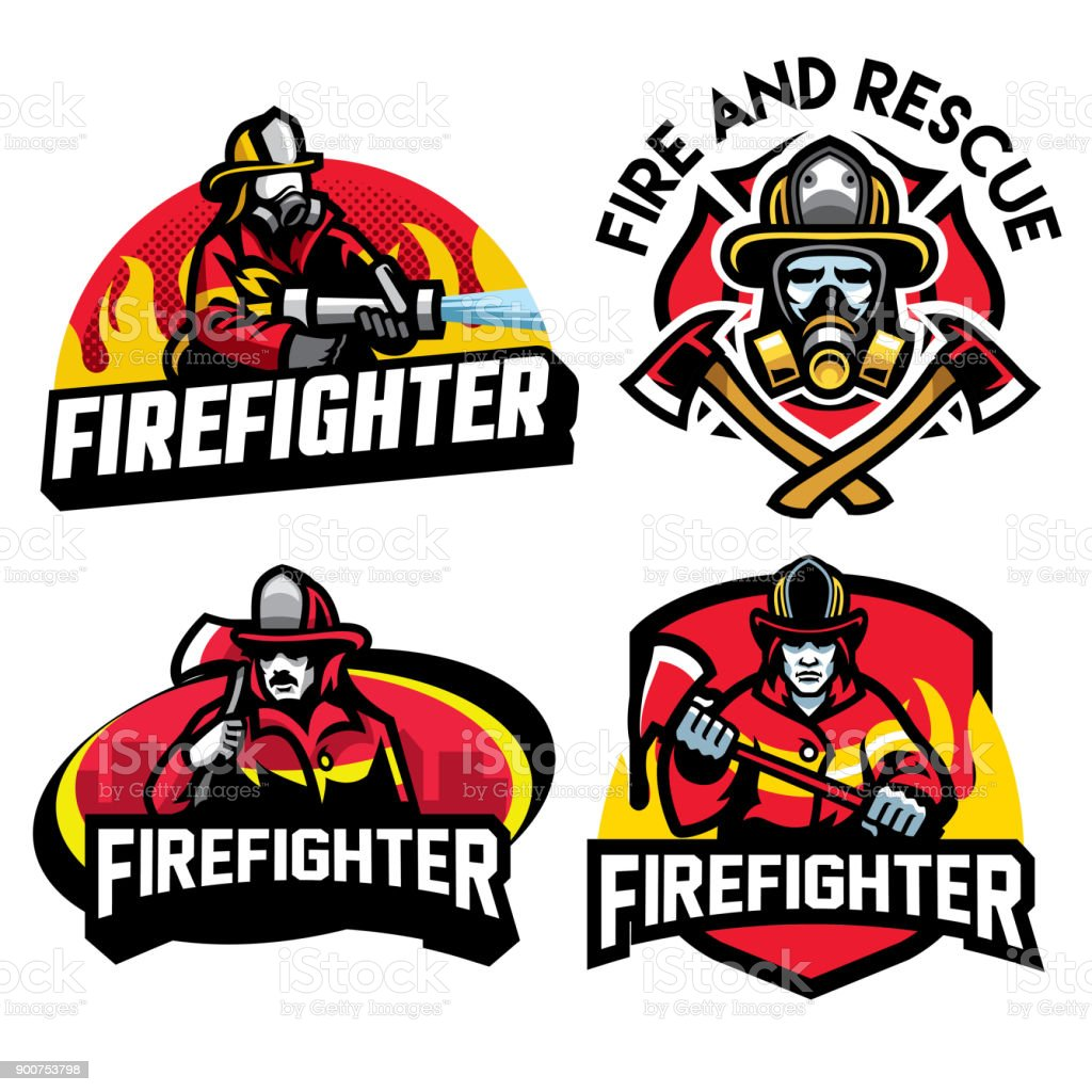 firefighter badge design set vector art illustration