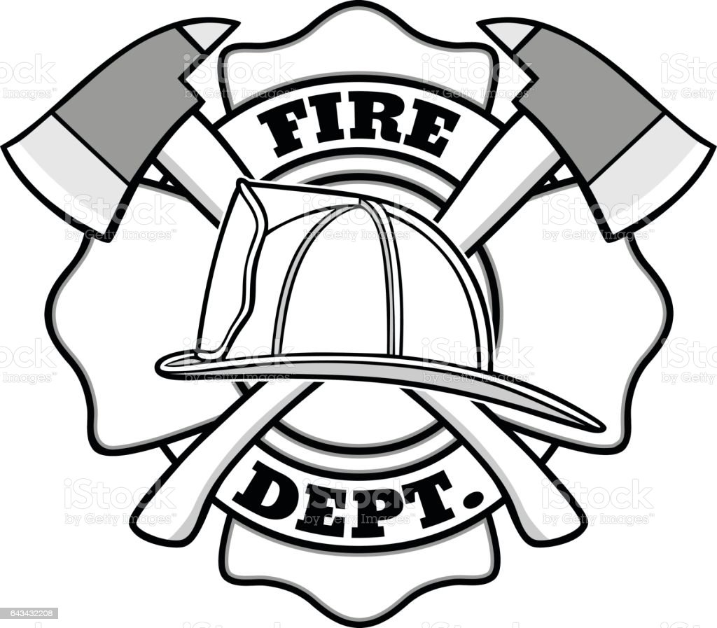 Firefighter Coloring Pages: Firefighter Badge Illustration Stock Vector Art & More