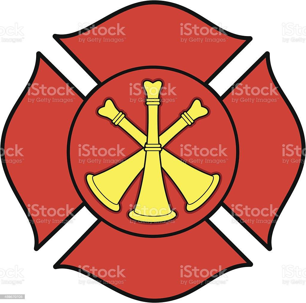 Firefighter Bugle Badge vector art illustration