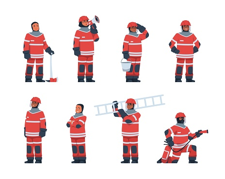 Firefighter. Cartoon fireman characters wear professional rescue uniform. Men hold flame extinguisher and ladder. Emergency service worker speak into megaphone. Vector fire department