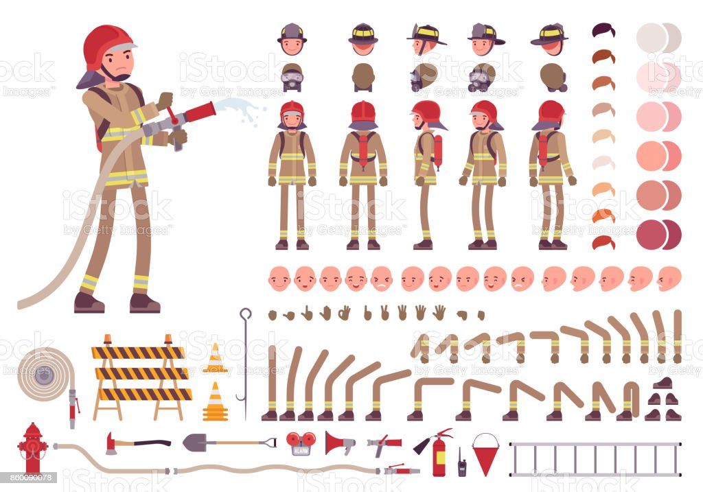 Firefighter character creation set vector art illustration