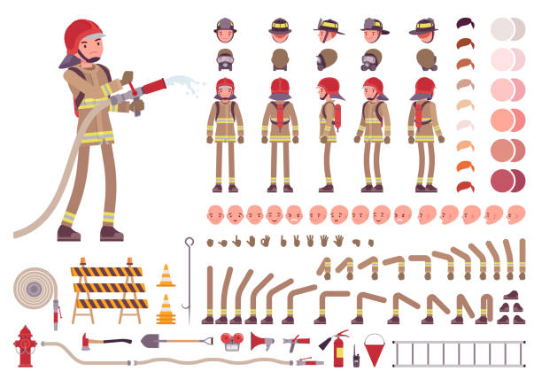 Firefighter character creation set Firefighter character creation set. Full length fireman, different views, emotions, gestures, professional tools and attributes. Build your own design. Cartoon flat-style infographic illustration fire hose stock illustrations