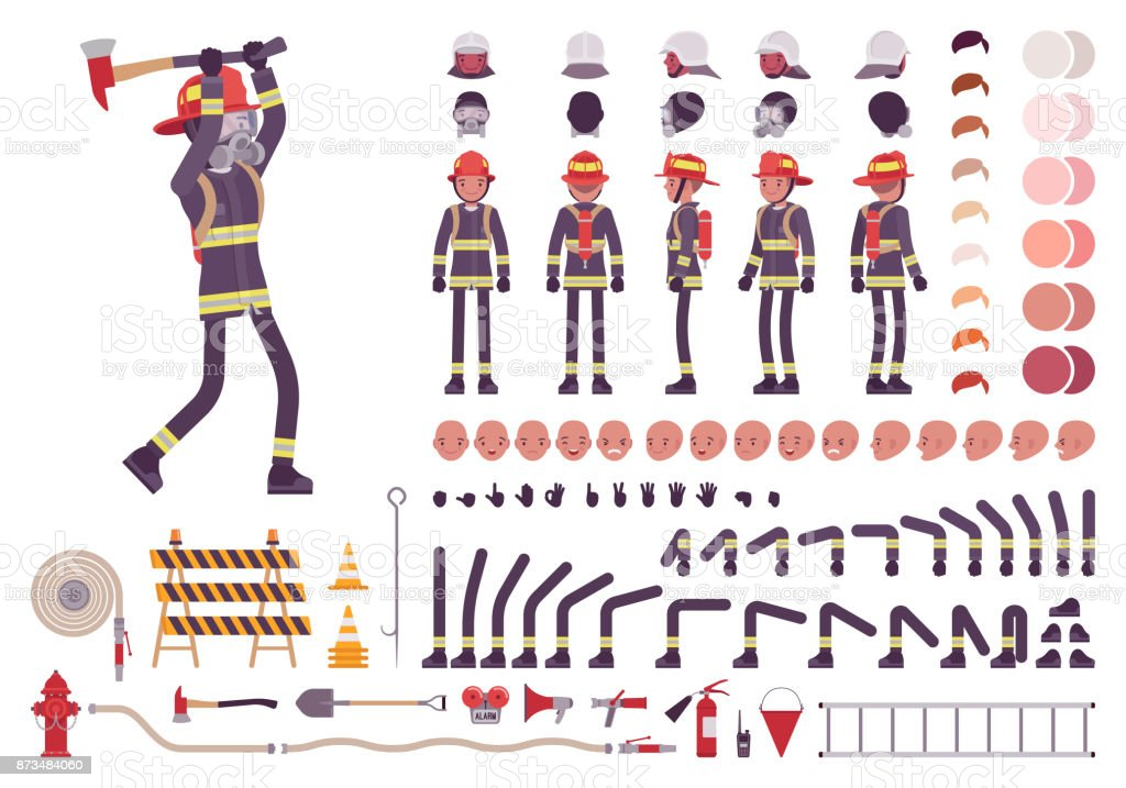 Conjunto de criação de personagem de bombeiro - ilustração de arte em vetor