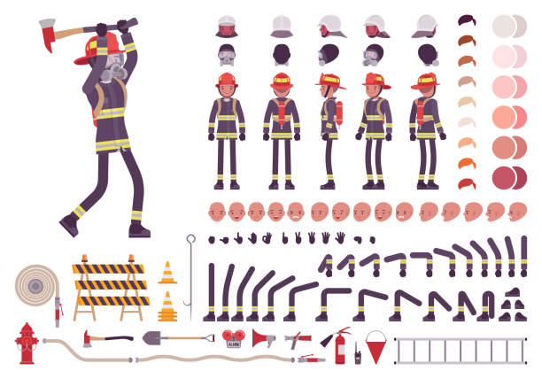 Firefighter character creation set Firefighter character creation set. Full length, different views, emotions, gestures, equipment for firemen to combat fire. Build your own design. Cartoon flat-style infographic illustration fire hose stock illustrations