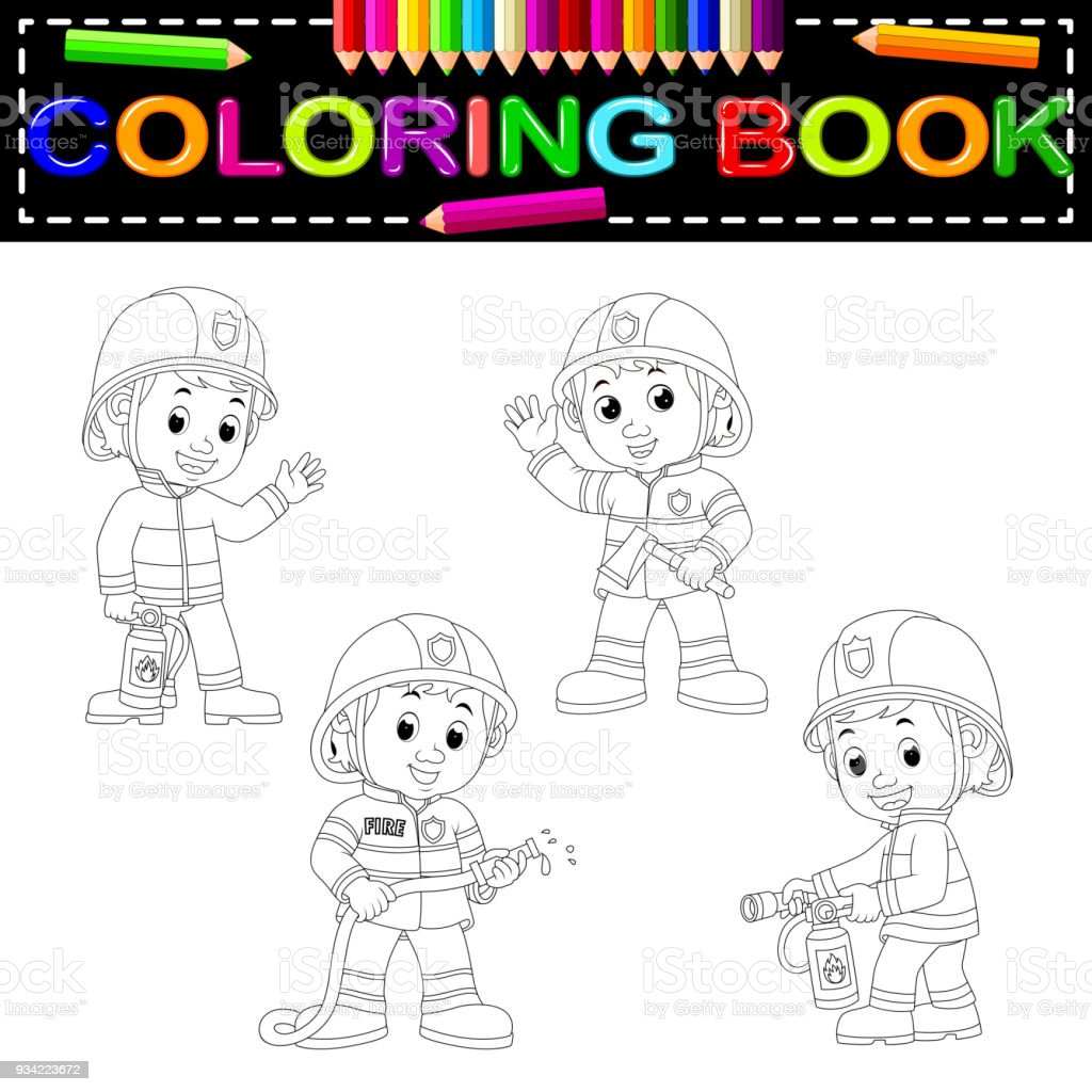 Firefighter Coloring Book Stock Illustration - Download ...