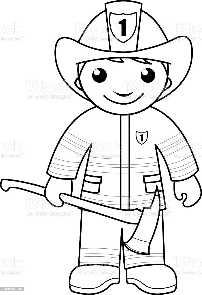 Firefighter coloring pages for toddlers ~ Firefighter Coloring Page For Kids Stock Vector Art & More ...