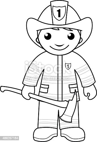 Black and white outline image of firefighter with an axe