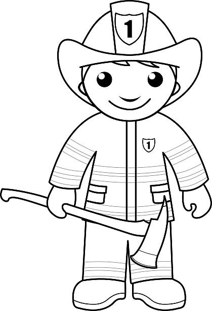 Firefighter Coloring Page For Kids Stock Illustration Download Image Now Istock