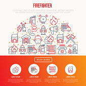 Firefighter concept in half circle with thin line icons: fire, extinguisher, axes, hose, hydrant. Modern vector illustration for banner, web page, print media.