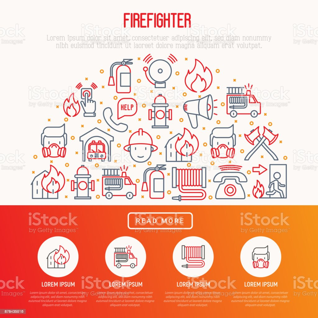 Firefighter concept in half circle with thin line icons: fire, extinguisher, axes, hose, hydrant. Modern vector illustration for banner, web page, print media. vector art illustration