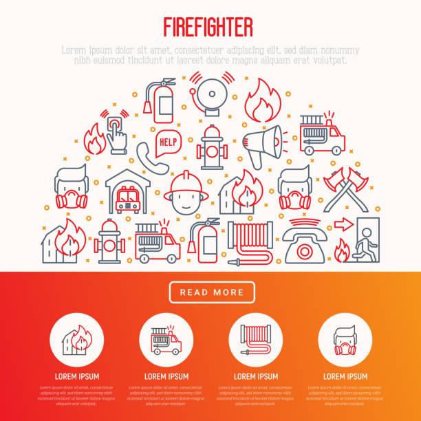 illustrations, cliparts, dessins animés et icônes de concept de pompier en demi cercle avec des icônes de la mince ligne: incendie, extincteur, axes, tuyau, bouche d'incendie. illustration vectorielle moderne pour la bannière, page web, presse écrite. - pompier