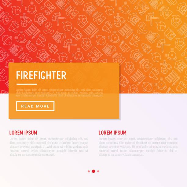 ilustraciones, imágenes clip art, dibujos animados e iconos de stock de concepto de bombero con los iconos de la delgada línea: fuego, ejes, manguera, extintores, hidrantes. ilustración de vector moderno para banner, página web, medios impresos con lugar para el texto. - bombero