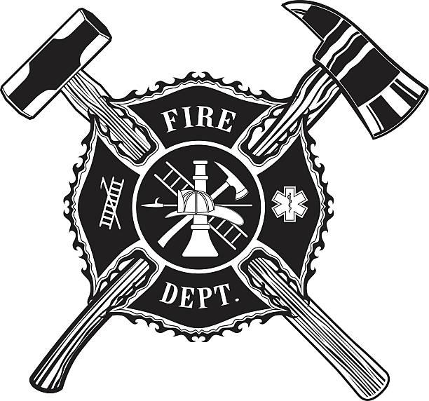 Firefighter Cross Ax and Sledge Hammer Firefighter Cross Ax and Sledge Hammer is an illustration of a firefighter or fireman Maltese cross with a crossed  ax and a sledge hammer. maltese cross stock illustrations