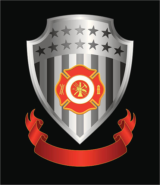 Firefighter Cross Shield Illustration of a fire department or firefighter's  Maltese cross symbol with firefighter logo on a silver shield with ribbon. fire station stock illustrations