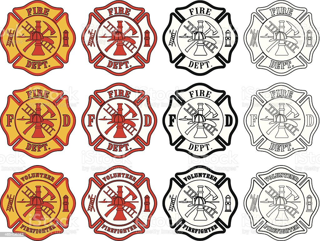 Firefighter Cross Symbol vector art illustration