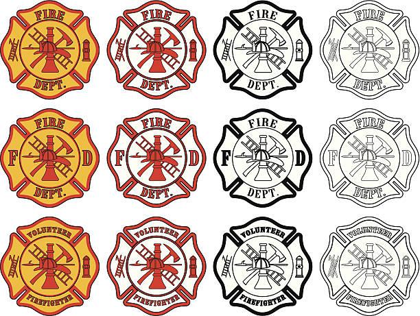 ilustraciones, imágenes clip art, dibujos animados e iconos de stock de bomberos símbolo de la cruz - bombero