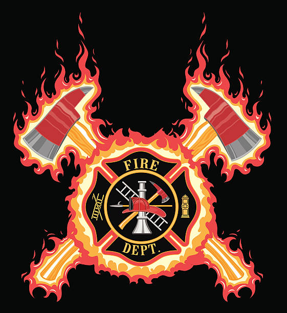 Firefighter Cross With Axes and Flames Firefighter Cross With Axes and Flames is an illustration of a fire department or firefighter cross with the firefighters tools logo and crossed axes with flame or fire background. maltese cross stock illustrations