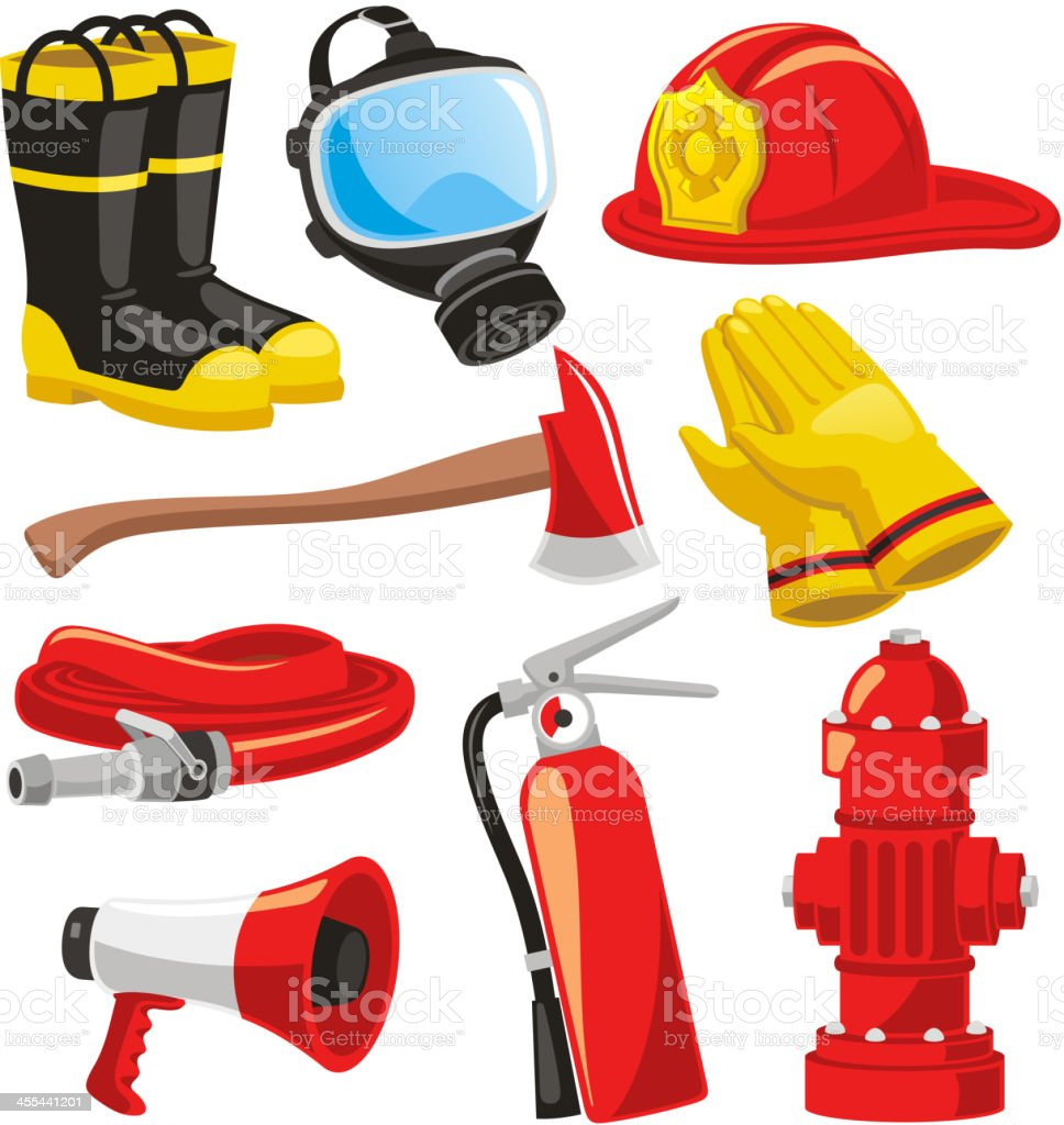 Firefighter elements vector art illustration