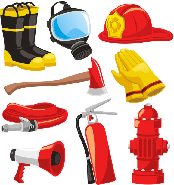 Firefighter elements Fire-fighter elements set collection, including boots, mask, helmet, axe, gloves, hose, fire extinguisher, megaphone vector illustration. fire hose stock illustrations