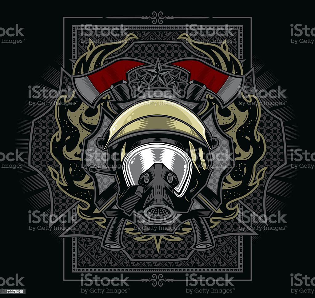 Firefighter Emblem Design vector art illustration