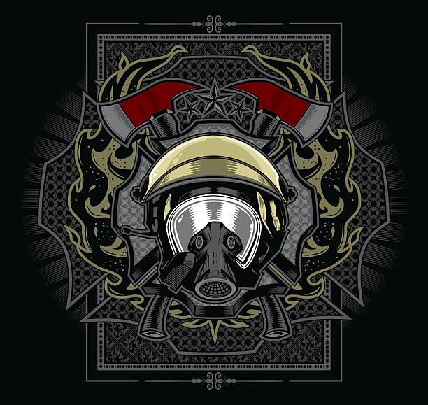 Firefighter Emblem Design vector art illustration