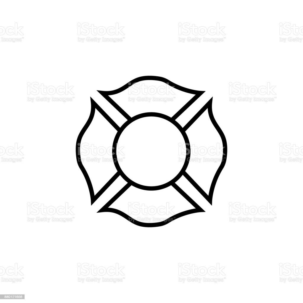 Firefighter emblem icon vector art illustration
