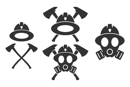 Firefighter. Emblem set. Flat style element for graphic design. Vector EPS10 illustration