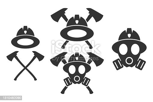 Firefighter. Emblem set. Flat style element for graphic design. Vector EPS10 illustration