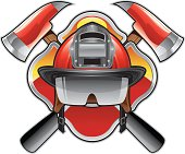 vector illustration of a firefighter them emblem.