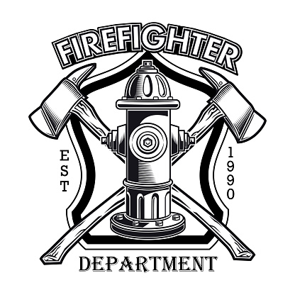 Firefighter emblem with hydrant vector illustration