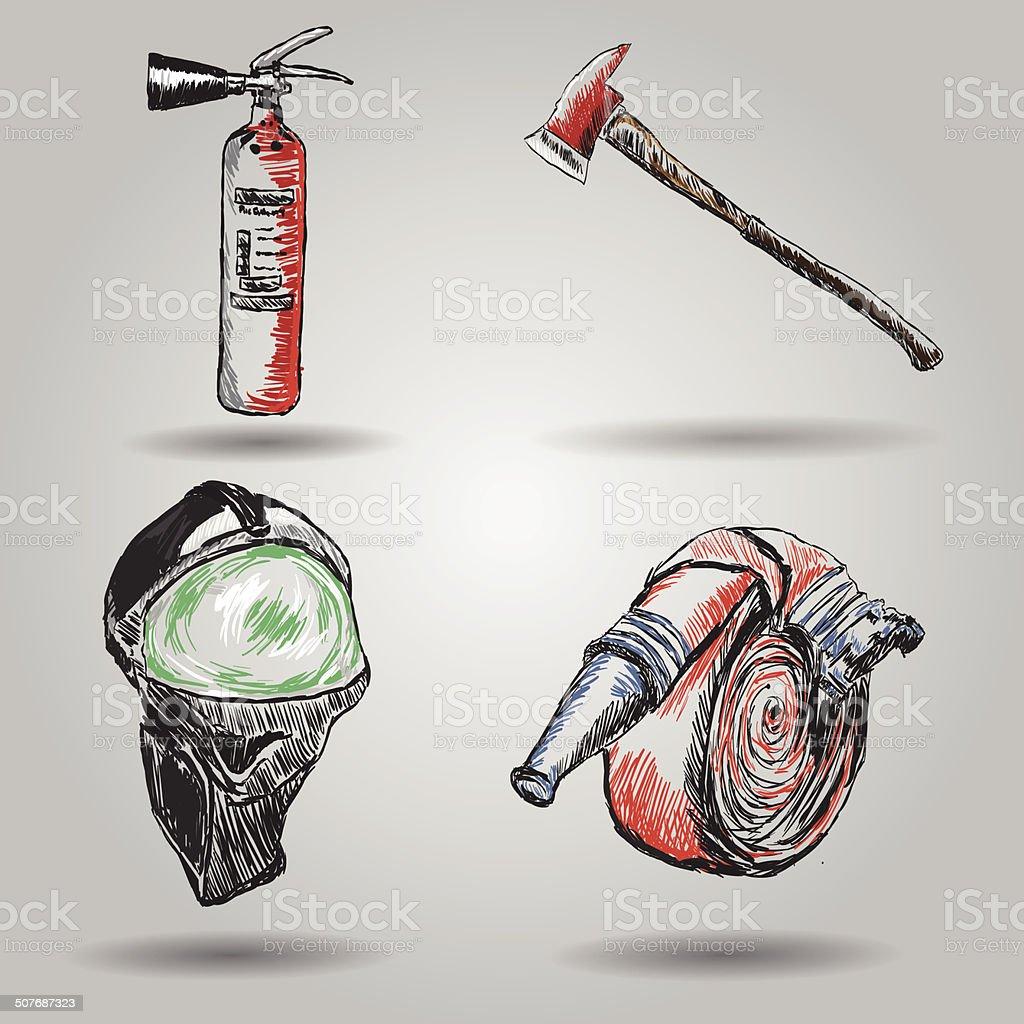 Firefighter  equipment vector art illustration