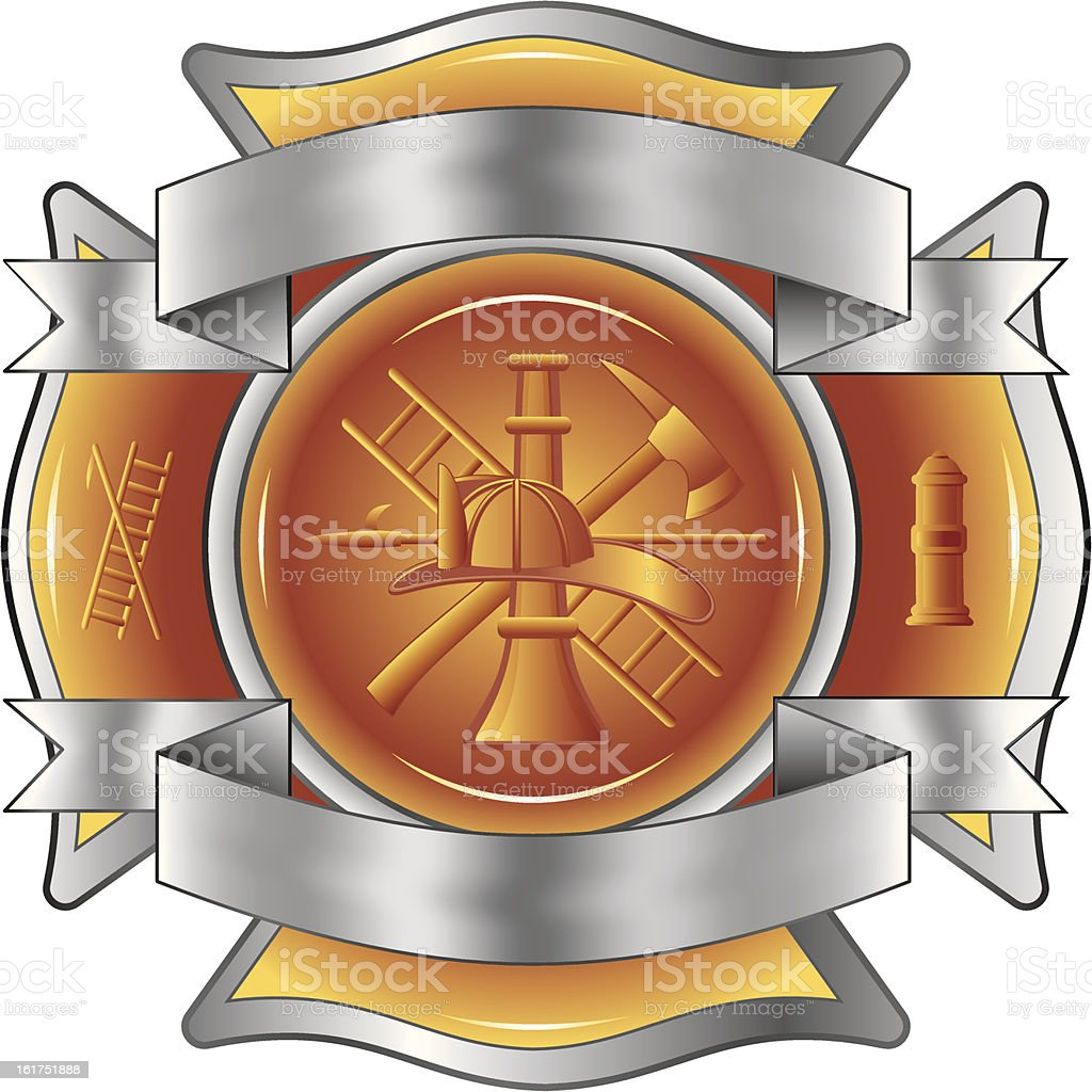 Firefighter Etched Cross with Tools royalty-free stock vector art