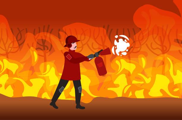 bildbanksillustrationer, clip art samt tecknat material och ikoner med brandman släckning farlig wildfire bushfire i australien brandman använda brandsläckare brandbekämpning naturkatastrof concept intensiv orange flames horisontell full längd - skog brand