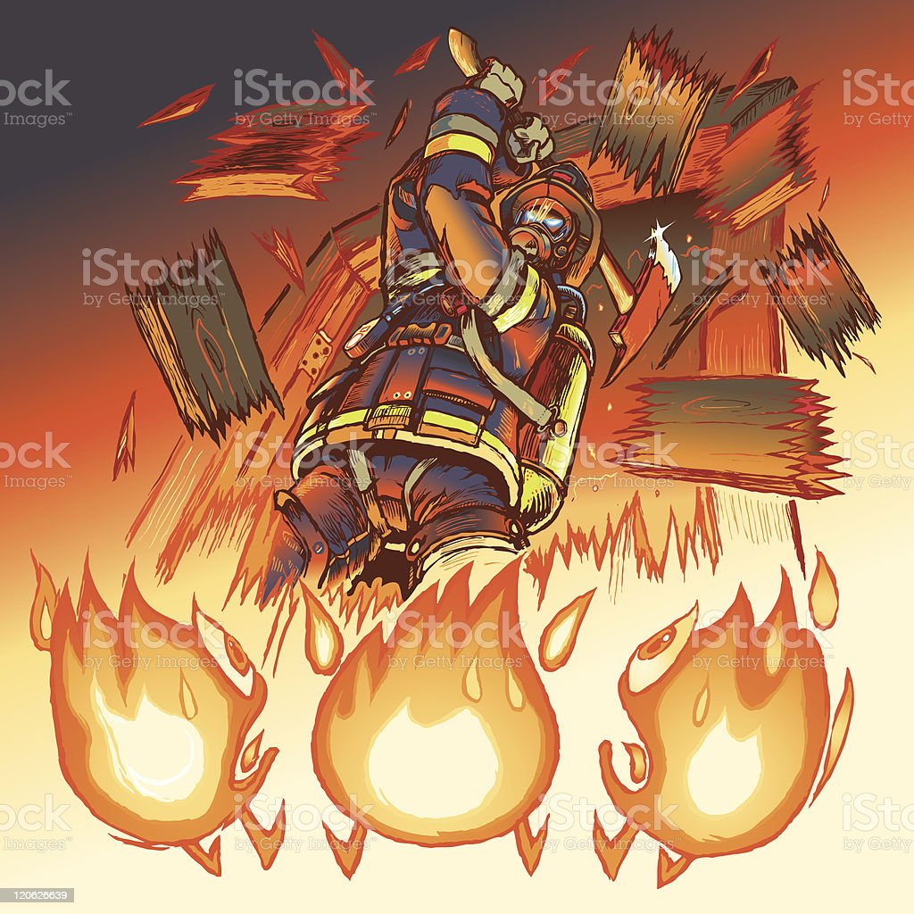 Firefighter fights cartoon flames vector illustration royalty-free stock vector art