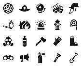 Firefighter & Firefighter Equipment Icons Black & White Set Big