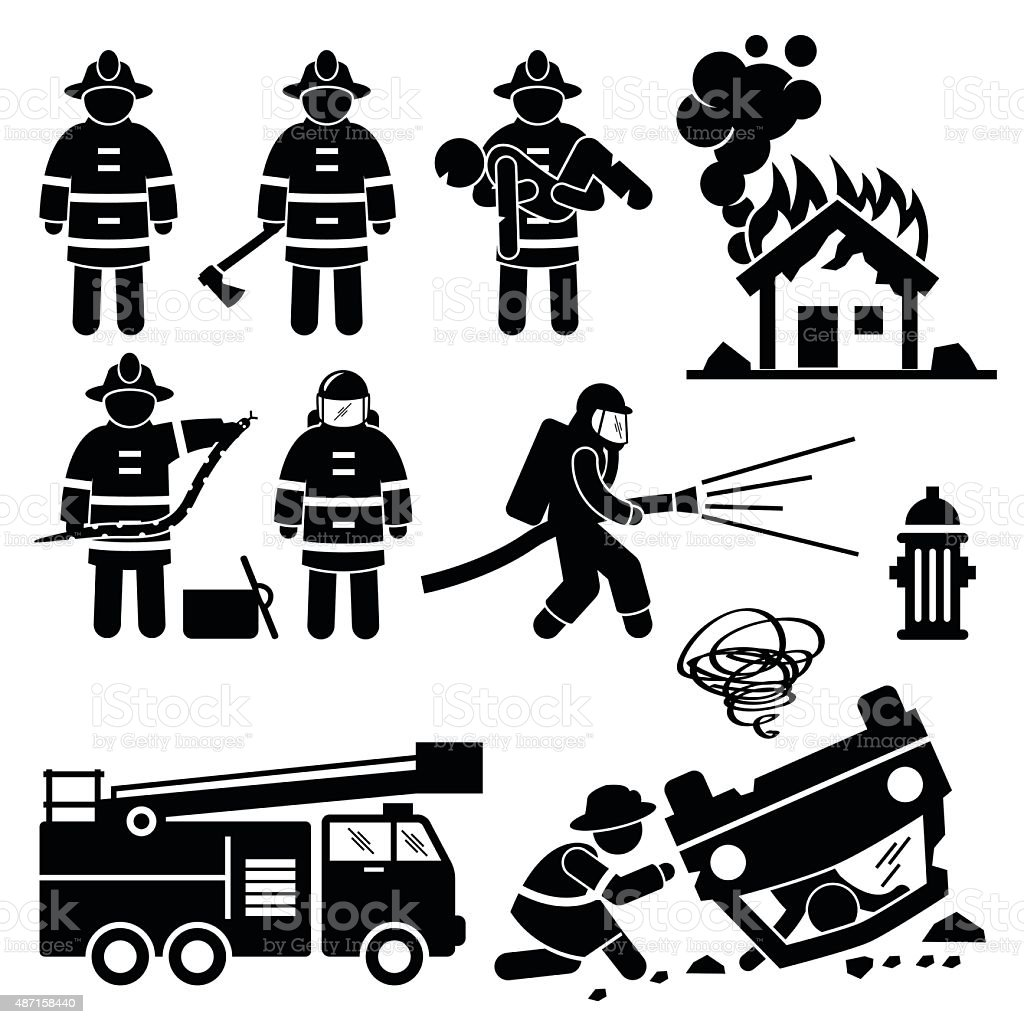 Firefighter Fireman Rescue Stick Figure Pictogram Icons vector art illustration