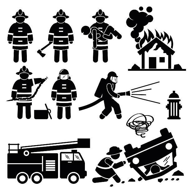 illustrations, cliparts, dessins animés et icônes de pompier pompier sauvetage stick figure pictogram icônes - pompier